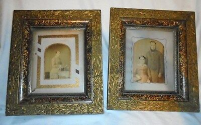 Antique vintage pair Eastlake Victorian deep well picture frames with photos