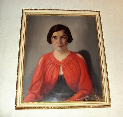 GORGEOUS EARLY 20TH CENTURY PAINTING PORTRAIT OF A LADY IN PERIOD DRESS~c1920's