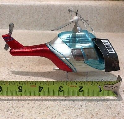 NEW Robert Stanley Christmas Glass Ornament Helicopter USA RESCUE RED WHITE BLUE