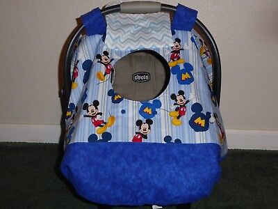 **MICKEY MOUSE**Fitted w/peekaboo opening Handmade Car Seat Canopy-Cover