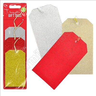 Christmas Luxury Glitter Gift Tags Labels Presents Sparkle Name Red Silver Gold