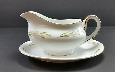 Kyoto Fine China Gold Wheat Gravy Dish Boat with Plate Japan