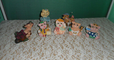 7 Pig Figurines Pigs Ballerina  Grapes Enesco This Little Piggy Spring Cleaning