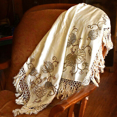 Fringed, Antique Chinese Silk Scarf - Laid Embroidered w/Gold Couching