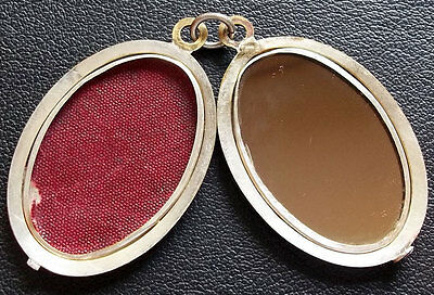 Awesome Antique Mirror Art Nouveau Photo Pocket Fob Pendant