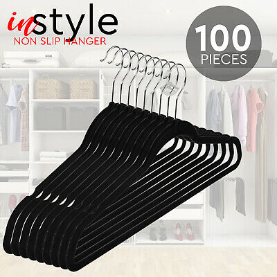 100Pcs Coat Hangers Nonslip Coat Clothes Hanging Closet Slim Thin
