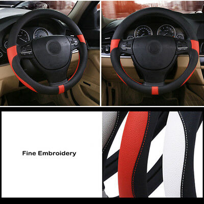 New design Top Layer Leather  Daniepi car steering wheel cover black and red