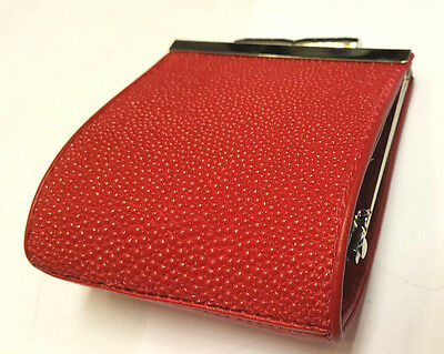 Genuine Stingray Wallets Skin Leather Women's Coin Bags Purses Red Handmade