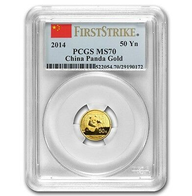 2014 1/10oz China 50¥ Gold Panda - PCGS First Strike MS70