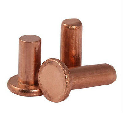 50PCS M2 M2.5 M3 Red Copper GB109 Flat Head Solid Rivets