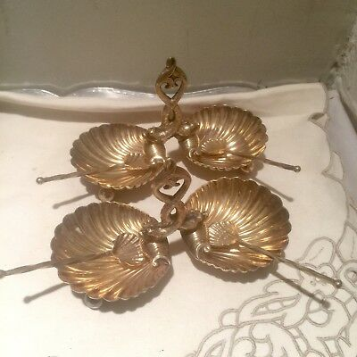 Pr Vintage Spanish Silver P Figural Double Dolphin Shell Caviar  Dishes W Spoons