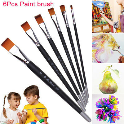 6pcs Water Coloring Brush Pen for Watercolor Painting Flat Head Pencils Brush Po