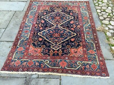 Antique rug. Gorgeous Pink and blue Hamadan, 4x6 floral and vine. Tribal weaving