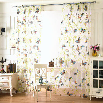 Butterfly Lace Door Window Curtain Room Drape Panel Voile Tulle Sheer Valance CA