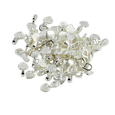 100pc Heart Glue On Bails Silver White 16x8mm Jewelry Connector DIY Pendants