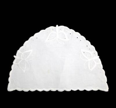 Vintage pretty white embroidered butterfly linen tea cosy