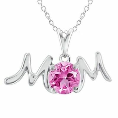 "14k White Gold Over 925 Silver Round Pink Sapphire MOM Pendant Necklace 18""Chain"