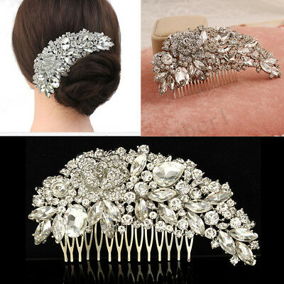 Accessori donne Bridal Crystal capelli pettine strass argento fiore sposa matrim