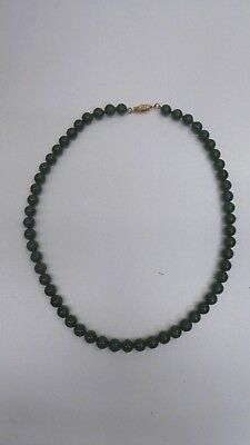 Old String Vintage Green Jade Beads Gilt Silver Clasp