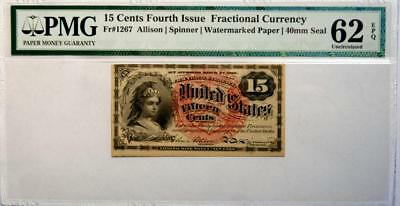 15 Cent 4th Issue Fractional Currency Fr# 1267 Watermarked **PMG 62 EPQ**