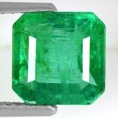 2.04 Cts Natural Top Green Emerald Loose Octagon Cut Zambia Untreated 7.5 mm Gem