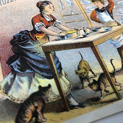 Muzzy's Corn Starch Victorian trade card recipes dogs Kittens c1880s