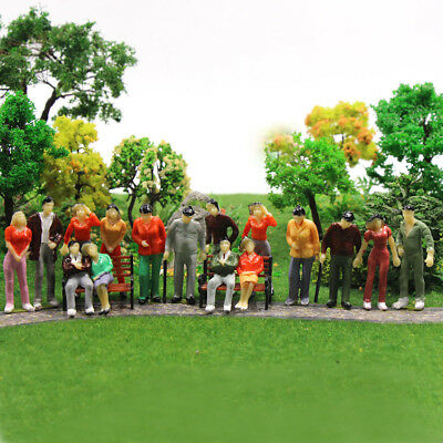 25pcs Model Trains 1:43 O Scale Painted Figures Standing Seated People P43