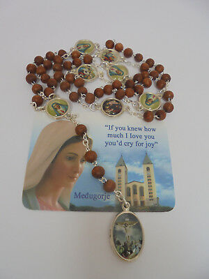 Rosary Our Lady Of The Seven Sorrows WOOD Beads Mater Dolorosa +Gift holy Card