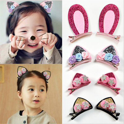 1Set  Girls Cute Hair Clips Flowers Hairpins Rabbit Ears Barrettes For Kids Baby