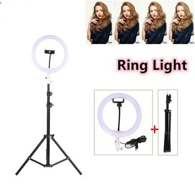 "10""LED Ring Light with Stand 5600K Dimmable LED Lighting Kit Makeup Youtube Live"