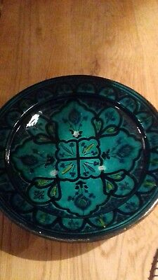 Moroccan Safi Green Wall  Plate  Signed