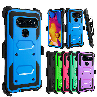 For LG V40 ThinQ Case Hybrid Holster With Belt Clip Hard Kickstand Phone Cover
