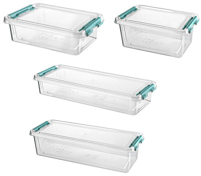 Small Clear Plastic Storage Boxes with Lids Clip Locking Container Home Office