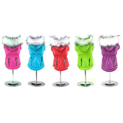 Winter Warm Cotton Hoodie Jacket Coat Clothes Outwear Costume US Pet Dog Puppy