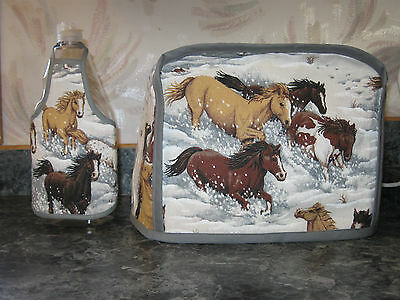 Horses running in snow cotton fabric Handmade 2 slice toaster cover (ONLY)