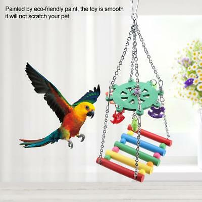 Parrot Bird Toys Natural Wooden Grass Chewing Bite Hanging Cage Bite Swing Climb