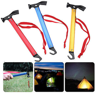 Outdoor Camping Mallet Hammer Tent Pegs Stake Nail Puller Remover Tools Shovel