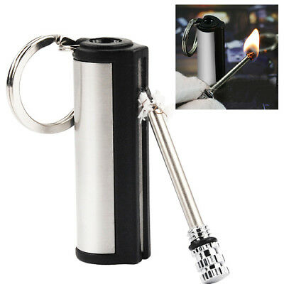MATCH STICK LIGHTER - Permanent Metal Cigarette Fire Flint Camping Keyring Gift