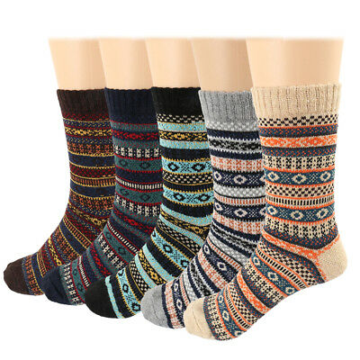 5 Pairs Men's Women's Wool Cashmere Thick Warm Casual Soft Winter Boot Socks Lot