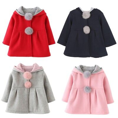 Baby Kids Girls Rabbit Ears Cotton Hooded Coat Warm Jacket Clothes Outerwear UK