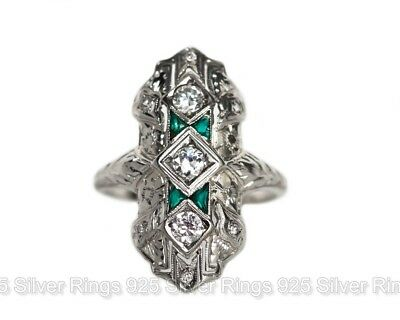 2.60Ct Antique White Diamond Art Deco Fancy Nouveau Ring in 14k White Gold Over