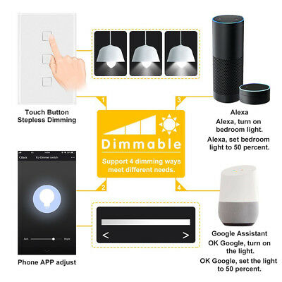 WIFI Smart Dimmer Light Wall Switch Touch Remote Control For Alexa/Google Home