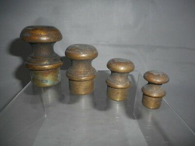 RARE Set of 4 Antique 19th Century Bronze or Brass Apothecary Peg Weights