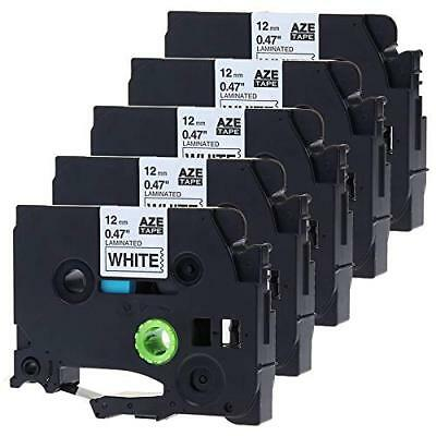 5PK TZe231 P-Touch Label Tape Black on White Compatible for Brother 12mm*8 TZ231