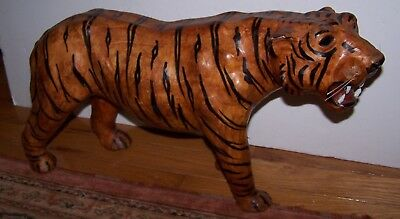Vintage Paper Mache Handmade Painted Large Striped Tiger Sculpture Folk Art