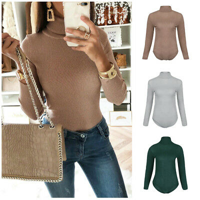 Fashion Womens Ribbed High Turtle Neck Bodysuit Long Sleeve Leotard Top Jumpsuit