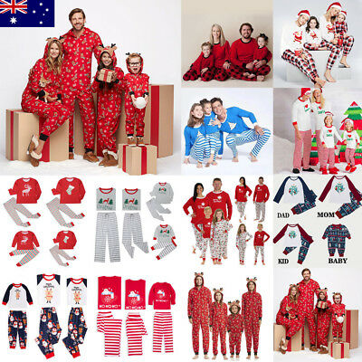 AU Kids Adult Family Matching Christmas Pajamas Sleepwear Nightwear Pyjamas set