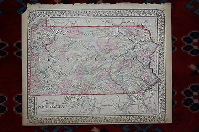 Counties of State of Pennslvania PA Original Antique 1870 Mitchell's Atlas Map