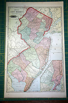New Jersey - Rare Original Vintage 1900 Antique Tunison Colored World Atlas Map