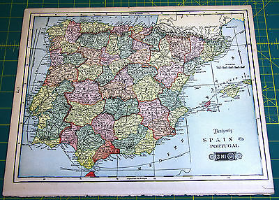Spain - Rare Original Vintage 1900 Antique Tunison's Colored World Atlas Map